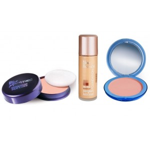 Buy Blue Heaven Xpression Pan Cake (63), Oil Free Foundation (Cream Beige) & Silk On Face Compact (Natural) Combo - Nykaa