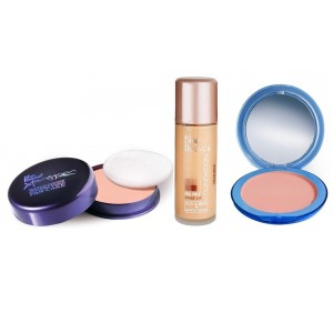 Buy Blue Heaven Xpression Pan Cake (64), Oil Free Foundation (Cream Beige) & Silk On Face Compact (Natural) Combo - Nykaa