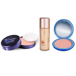 Buy Blue Heaven Xpression Pan Cake (61), Oil Free Foundation (Natural Beige) & Silk On Face Compact (Blush) Combo - Nykaa
