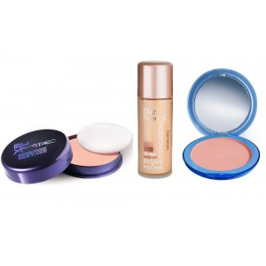 Buy Blue Heaven Xpression Pan Cake (62), Oil Free Foundation (Natural Beige) & Silk On Face Compact (Blush) Combo - Nykaa