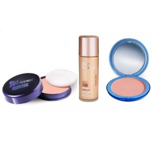 Buy Herbal Blue Heaven Xpression Pan Cake (65), Oil Free Foundation (Natural Beige) & Silk On Face Compact (Blush) Combo - Nykaa
