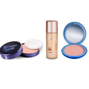 Buy Blue Heaven Xpression Pan Cake (66), Oil Free Foundation (Natural Beige) & Silk On Face Compact (Blush) Combo - Nykaa