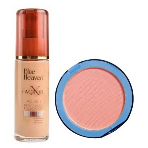 Buy Blue Heaven X Factor Foundation - Blush & Silk On Face Compact Pink Combo - Nykaa