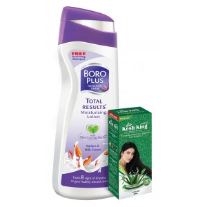 Buy Boroplus Total Results Moisturising Lotion - Badam & Milk Cream + Free Emami Kesh King Anti HairFall Shampoo - Nykaa