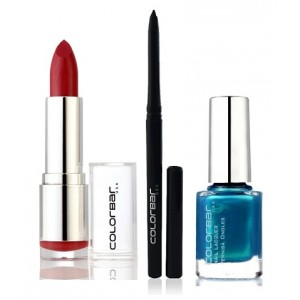 Buy Herbal Colorbar Velvet Matte Lipstick - BRICK-O-LA + Kohl Intense Kajal + Free Nail Enamel Exclusive - Peacock Blue - Nykaa