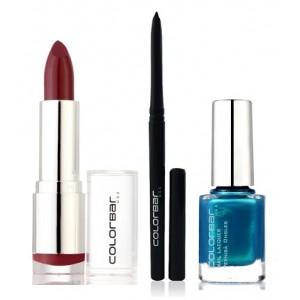 Buy Colorbar Velvet Matte Lipstick - Blush + Kohl + Kohl Intense Kajal + Free Nail Enamel Exclusive - Peacock Blue - Nykaa