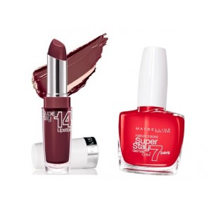 Buy Maybelline Superstay 14hr Lipstick - Always Plum 260 + Free Nail Color - 08 Passionate Red - Nykaa