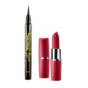 Buy Herbal Maybelline The Colossal Liner - Black + Free Moisture Extreme Lipstick - 925 Burgandy - Nykaa