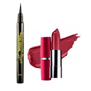 Buy Maybelline The Colossal Liner - Black + Free Moisture Extreme Lipstick - 844 Pure Plum - Nykaa