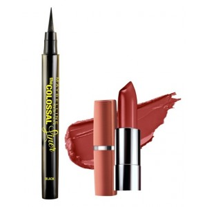 Buy Herbal Maybelline The Colossal Liner - Black + Free Moisture Extreme Lipstick - 814 Dusky Mauve - Nykaa