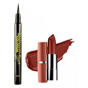 Buy Maybelline The Colossal Liner - Black + Free Moisture Extreme Lipstick - 816 Earthly Taupe - Nykaa