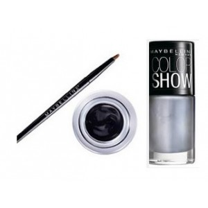 Buy Herbal Maybelline Eye Studio Lasting Drama Gel Eyeliner - Black + Free Color Show Nail Lacquer - Silver Linings - Nykaa