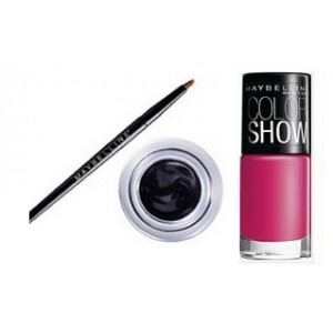 Buy Maybelline New York Eye Studio Lasting Drama Gel Eyeliner - Black + Free Color Show Nail Lacquer - Hooked On Pink - Nykaa