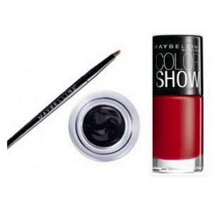 Buy Maybelline Eye Studio Lasting Drama Gel Eyeliner - Black + Free Color Show Nail Lacquer - Downtown Red - Nykaa
