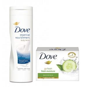 Buy Dove Fresh Moisture Bar + Dove Essential Nourishment Body Lotion - Nykaa