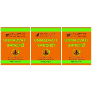 Buy Dr. Vaidya's Unmadvati Pills For Anxiety, Stress, Sleep Disorder & Hypertension (Pack Of 3) - Nykaa
