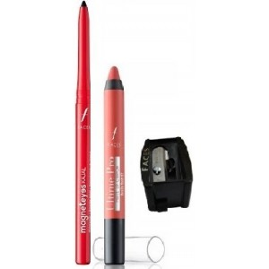 Buy Faces Magneteyes Kajal - Lasts All Day - Black + Ultime Pro Matte Lip Crayon - Really Rust 07 With Sharpener - Nykaa