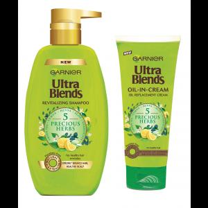Buy Garnier Ultra Blends 5 Precious Herbs Shampoo (640ml) + Oil-in-Cream (200ml) - Nykaa