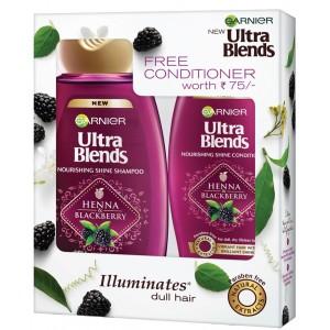 Buy Garnier Ultra Blends Henna Blackberry Shampoo 180ml + Free Conditioner Worth Rs 75/- - Nykaa