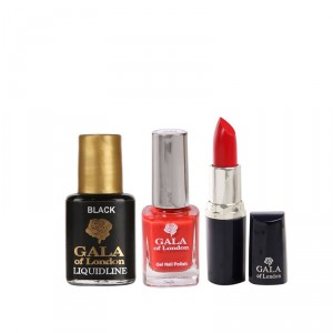 Buy Gala of London Lipstick - Hot Red E12 + Gel Nail Polish - G1 Red Chilli + Free Liquid Eye Liner (8ml) - Nykaa