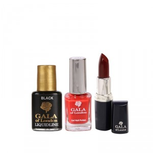 Buy Herbal Gala of London Lipstick - Blush E3 + Gel Nail Polish - G1 Red Chilli + Free Liquid Eye Liner (8ml) - Nykaa