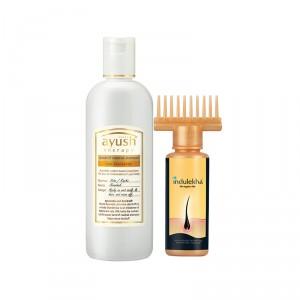 Buy Indulekha Bringha Hair Oil Selfie Bottle + Lever Ayush Dandruff Naashak Shampoo - Nykaa