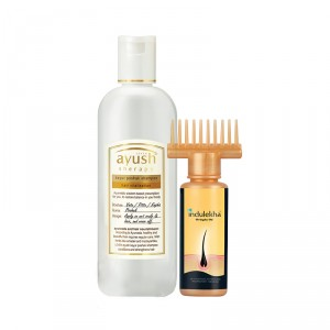 Buy Indulekha Bringha Hair Oil Selfie Bottle + Lever Ayush Keyur Poshak Shampoo - Nykaa