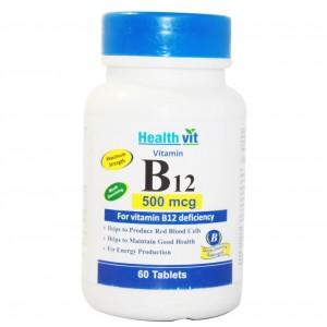 Buy HealthVit B12 500Mcg For Vitamin B12 Deficiency 60 Tablets - Nykaa