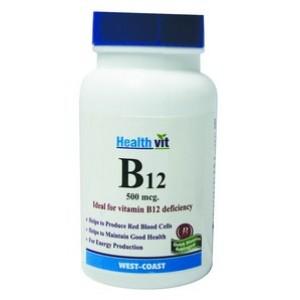 Buy HealthVit B12 Ideal for Vit B12 Deficiency 60 Tablets - Nykaa