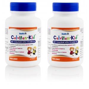 Buy Healthvit Calvitan-Kid Pack of 2 Kid's Calcium with Vitamin d3 60 Tablets - Nykaa