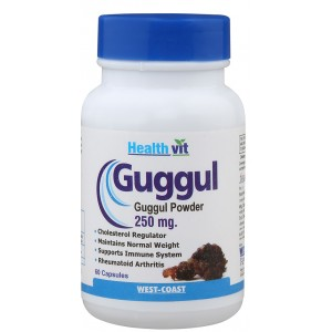 Buy HealthVit Guggul Powder 250 mg 60 Capsules For Weight Management - Nykaa