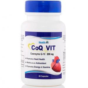 Buy Healthvit CoQ-Vit Coenzyme Q-10 200mg 60 capsules - Nykaa