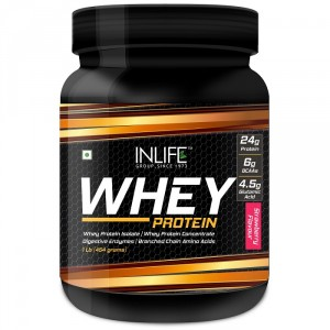 Buy INLIFE Whey Protein Powder 1 lbs(Strawberry Flavour) Body Building Supplement - Nykaa