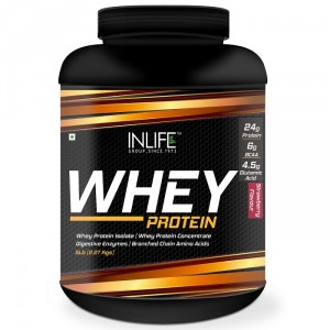 Buy INLIFE Whey Protein Powder 5 lbs (Strawberry Flavor) Body Building Supplement - Nykaa
