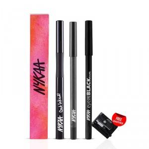 Buy Nykaa Get Inked! Sketch Eyeliner + EyemBLACK Kajal + GLAMOReyes Eye Pencil - Voodoo Grey 04 Combo - Nykaa