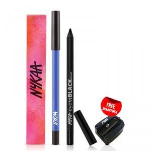 Buy Nykaa GLAMOReyes Eyeliner Pencil - Blue Hex 01 + EyemBLACK Kajal Eyeliner With Free Sharpener - Nykaa