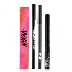 Buy Nykaa GLAMOReyes Eye Pencil - Voodoo Grey 04 + EyemSMOKY Kajal + 24H Vinyl Luxe Eyeliner - Nykaa