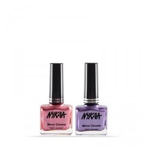 Buy Nykaa MirrorChromeNail Lacquer - Pink Pinwheel & Purple Galaxy Combo - Nykaa