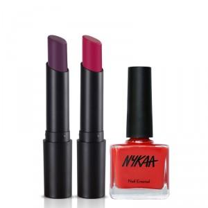 Buy Nykaa Purple Rain Lip & Nail Enamel Combo - Nykaa