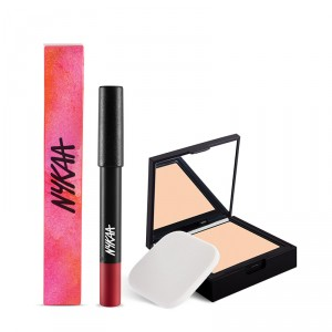 Buy Nykaa SKINgenius Skin Perfecting & Hydrating Compact - Natural Ivory 01 + Nykaa MATTE-ilicious Lip Crayon - Hot As Red Combo - Nykaa