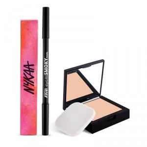 Buy Nykaa SKINgenius Skin Perfecting & Hydrating Compact - Rose Beige 02 + Nykaa EyemSMOKY Kajal Combo - Nykaa