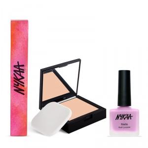 Buy Nykaa SKINgenius Skin Perfecting & Hydrating Compact - Rose Beige 02 + Nykaa Matte Nail Enamel - Lilac Scones 130 Combo - Nykaa