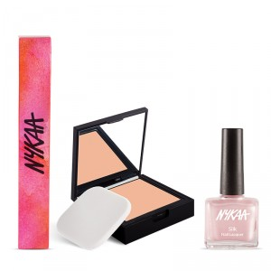 Buy Nykaa SKINgenius Skin Perfecting & Hydrating Compact - Warm Honey 03 + Nykaa Silk Lacquer - Pretty in Pink Combo - Nykaa