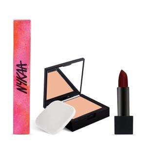 Buy Nykaa SKINgenius Skin Perfecting & Hydrating Compact - Warm Honey 03 + Nykaa So Matte Lipstick - California Merlot 14 M Combo - Nykaa