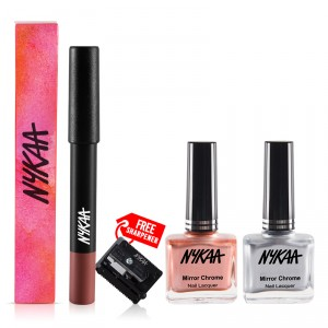 Buy Nykaa Mirror Chrome Nail Lacquer - Copper Age & Molten Sterling + MATTE-ilicious Lip Crayon - Next Level Nude Combo - Nykaa