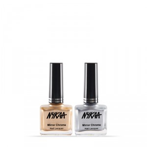 Buy NykaaMirrorChromeNail Lacquer - Sun-kissed Gold &  Molten Sterling Combo - Nykaa