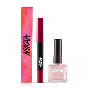 Buy Nykaa Pout Perfect Velvet Matte Lip Pencil - Kiss-n-Tell Pink 02 + Silk Lacquer - Pretty in Pink Combo - Nykaa