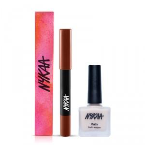 Buy Nykaa Pout Perfect Velvet Matte Lip Pencil - Nude Me Not 05 + Matte Nail Enamel - Almond Crumble Combo - Nykaa