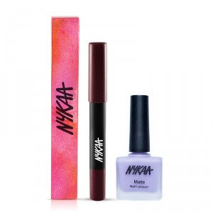 Buy Nykaa Pout Perfect Lip & Cheek Crayon - Please Plum Me 01 + Matte Nail Enamel - Lavender Panna Cotta Combo - Nykaa