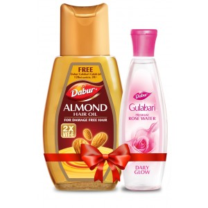 Buy Dabur Almond Hair Oil + Free Gulabari Premium Rose Water Worth Rs.39 - Nykaa